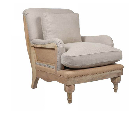Abe Linen Chair Stone Charcoal