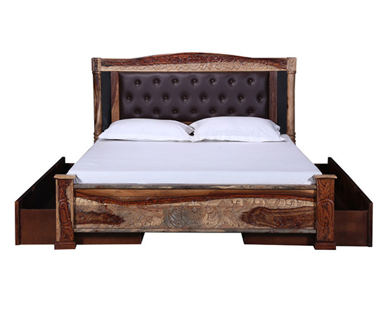 Chesterfield Leather Upholstered Queen Bed